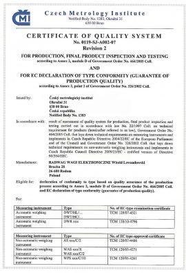 Сертифікат якості виробнитцва та тестування продукції