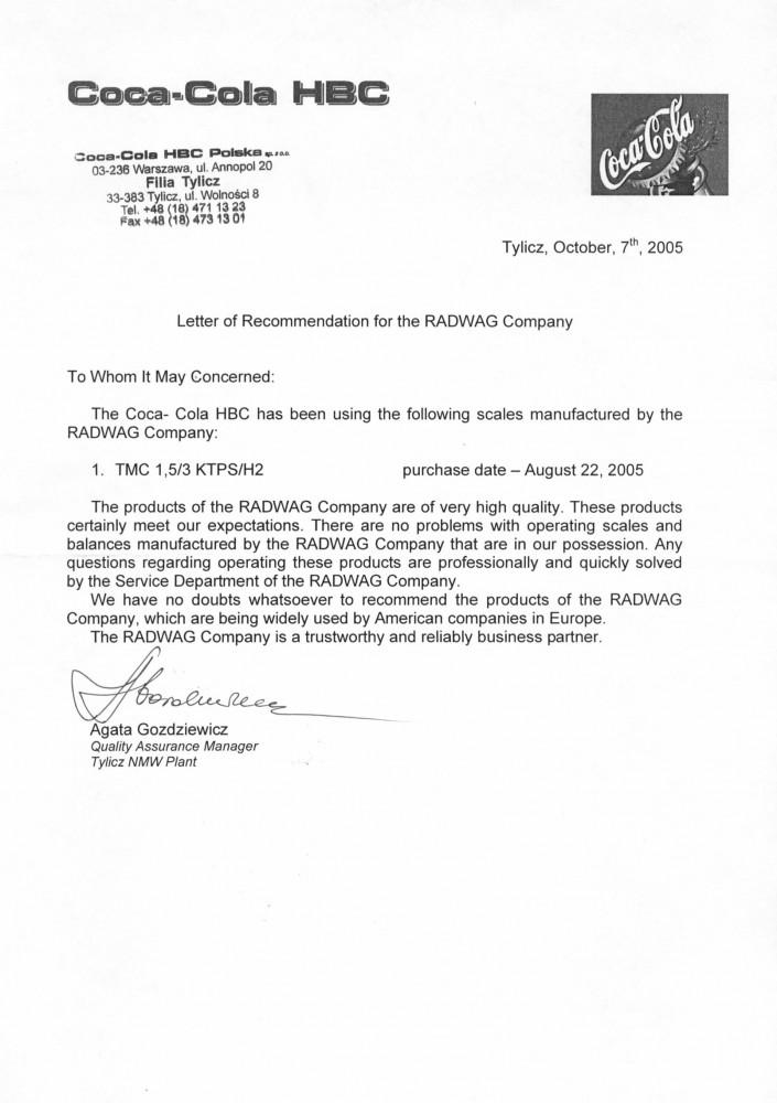 Рекомендательное письмо «Coca-Cola HBC Polska»