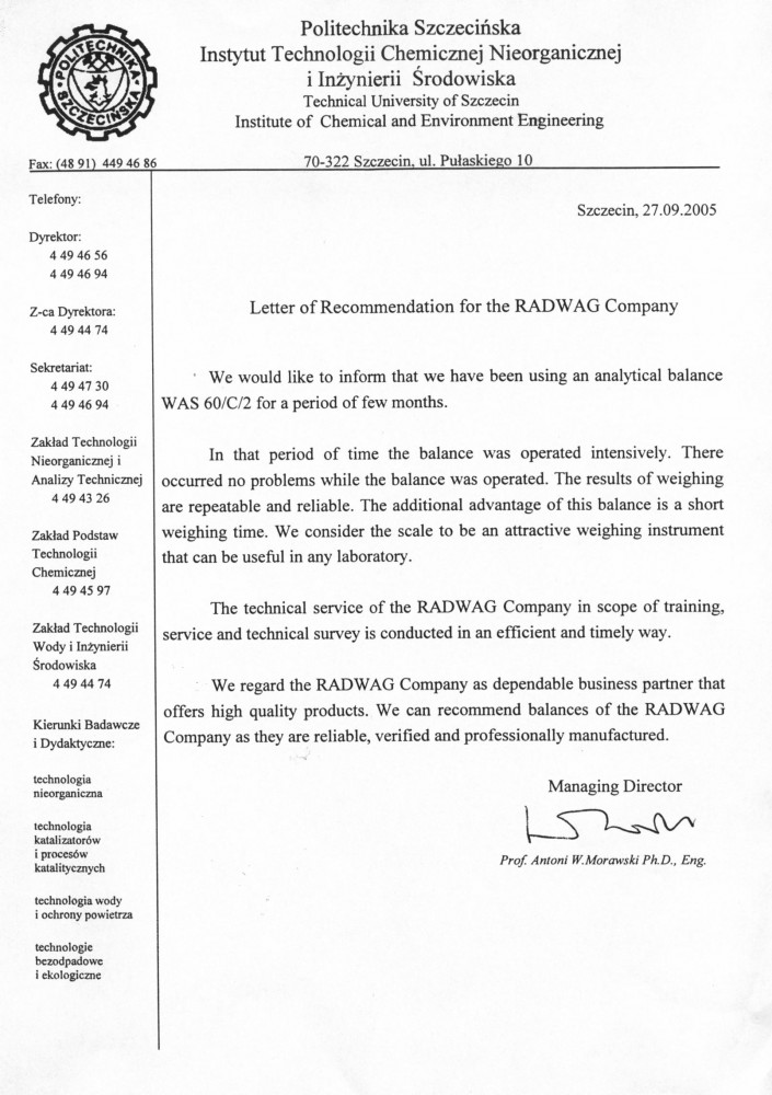 Рекомендательное письмо «Technical University of Szczecin»