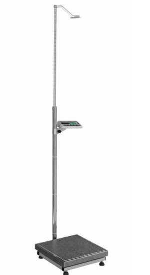 Medical scales with telescopic height meter